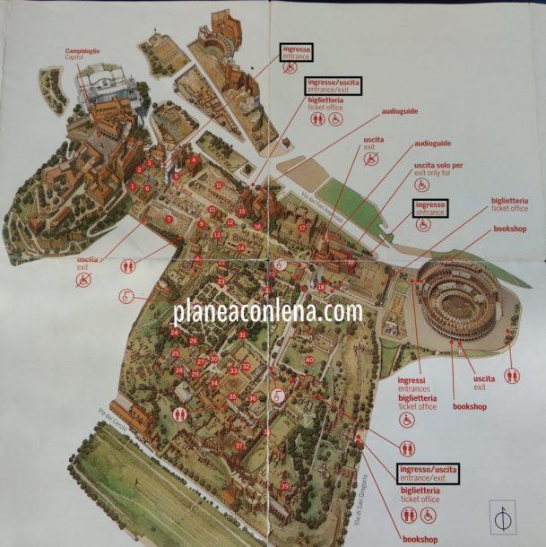 Mapa Palatino y Foro Romano | Roma