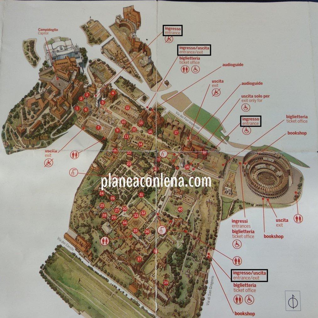 Mapa Palatino y Foro Romano | Consejos para viajar a Roma