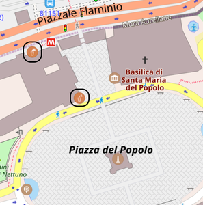 Mapa de OpenStreetMap con un par de fuentes señaladas | Consejos para viajar a Roma